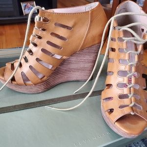 Leather Lace Up Wedges